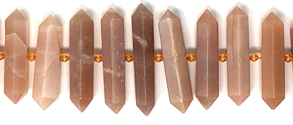 Graduated Peach Moonstone D.T Point Beads (Price is per Unit of 1 Strand)