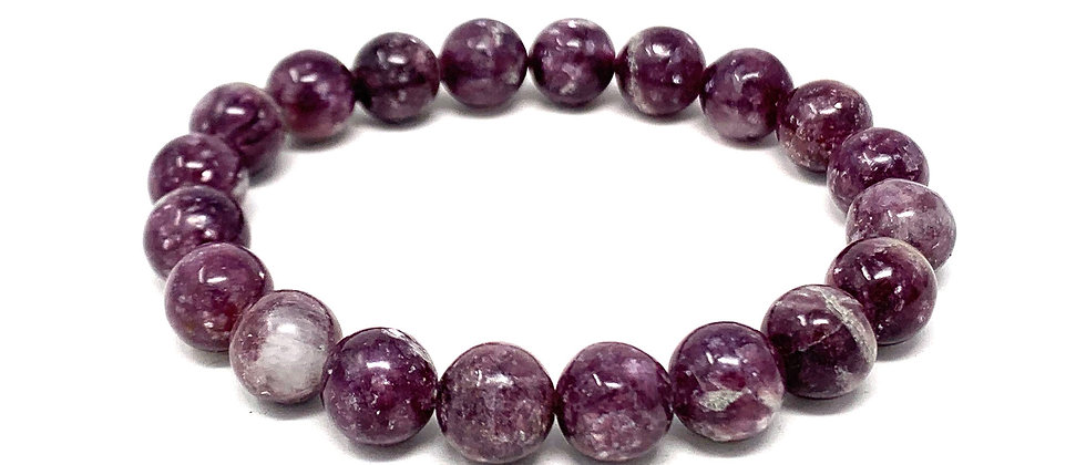 10 MM Lepidolite Round Beads Bracelets (Price Per 10 Pieces Bag)