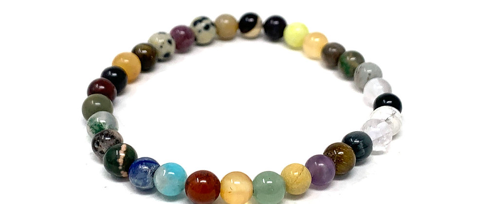 6 MM Multi Stone Round Beads Bracelets (Price Per 10 Pieces Bag)