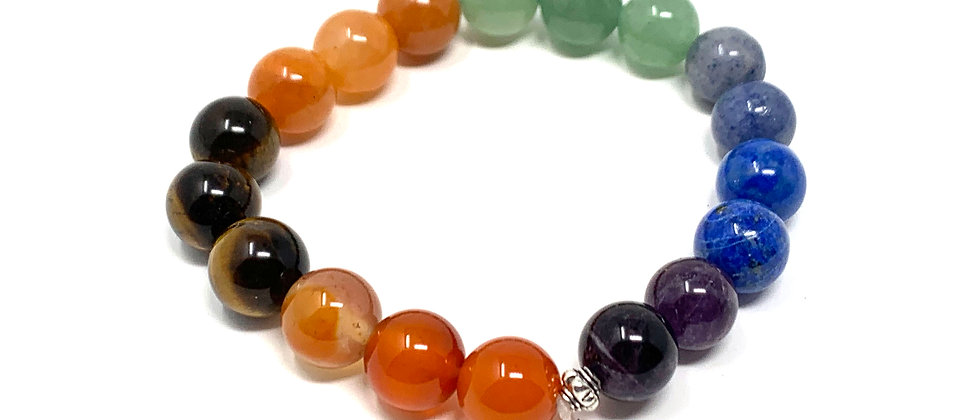 10 mm Round Chakra Elastic Bracelets  (Price is Per 10 Pieces Bag)