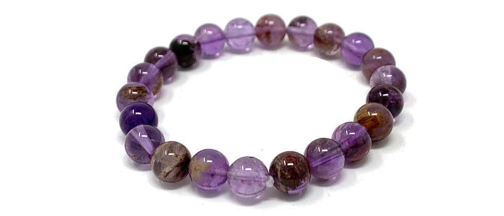 8 mm Round Super 7 Phantom Amethyst Bracelets  (Price is Per 10 Pieces Bag)