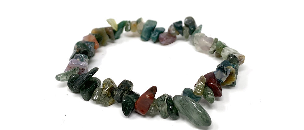 Indian Agate Single Chips Elastic Bracelet  (Price is Per 10 Pieces Bag)