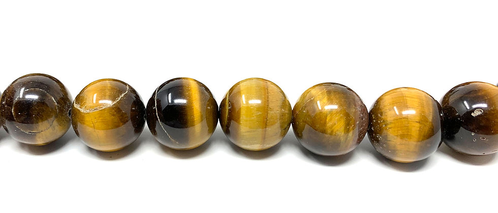 "10 mm Tiger Eye Round Beads 15.5""-16"" (Price per Unit of 5 Strands)"