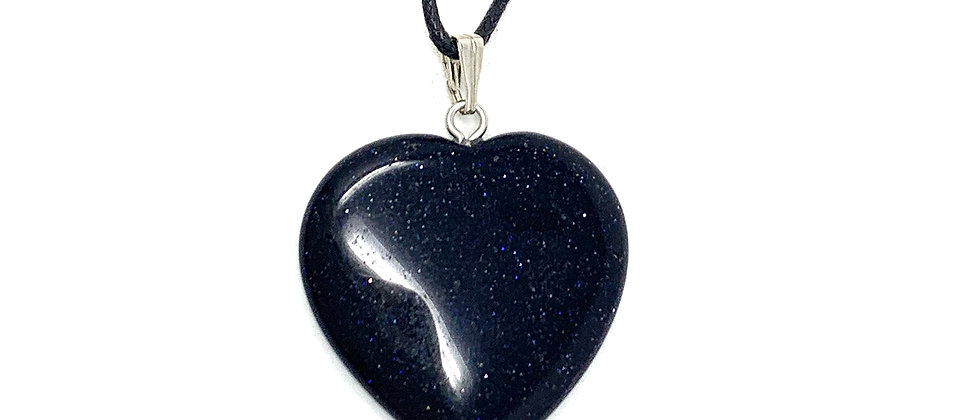35 mm Blue Goldstone Adjustable Cord Heart Pendant (Price per 10 Pieces Bag)