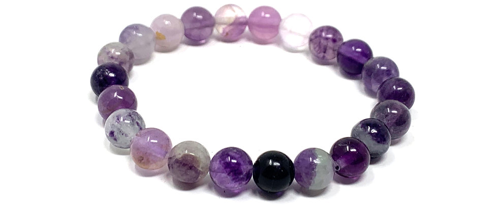 8 mm Round Purple Fluorite Stretch Bracelet  (Price is Per 10 Pieces Bag)