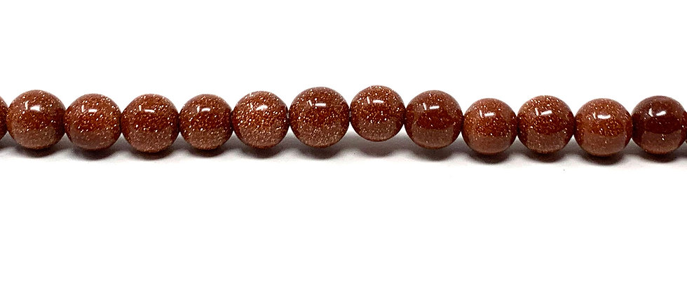 6 mm Plain Round Brown Goldstone Beads (Price is per Unit of 5 Strand)