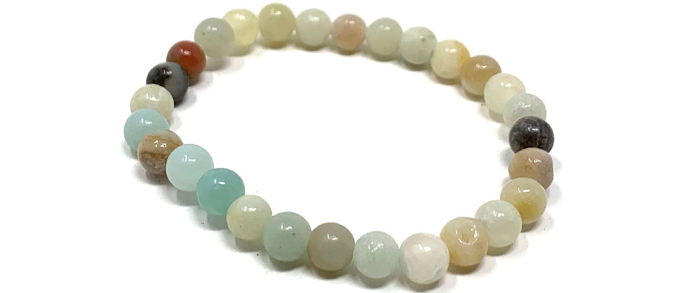 6 mm Round Maulti-Amazonite Strich Bracelet  (Price is Per 10 Pieces Bag)