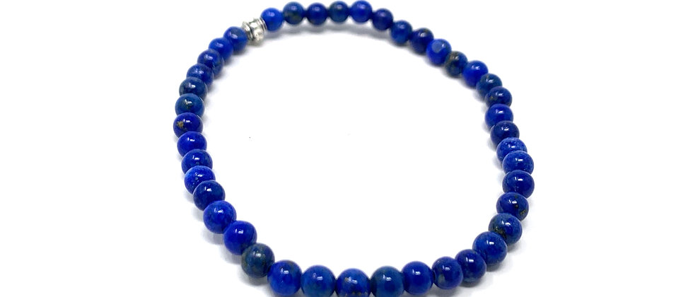 4 mm Round Natural Lapis Strech Bracelet  (Price is Per 10 Pieces Bag)