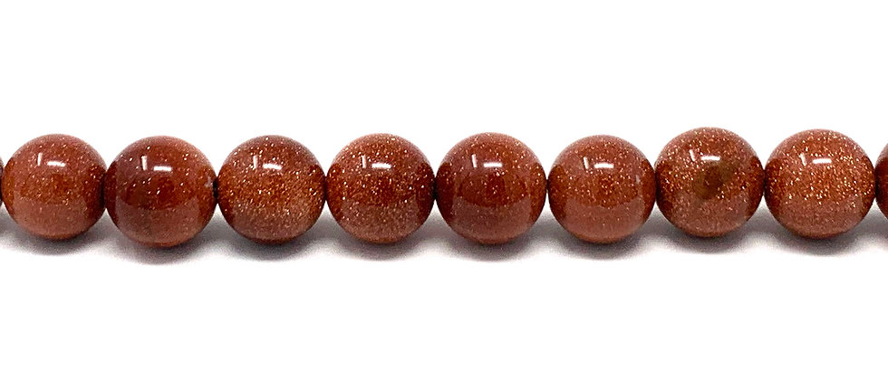 10 mm Plain Round Brown Goldstone Beads (Price is per Unit of 5 Strand)