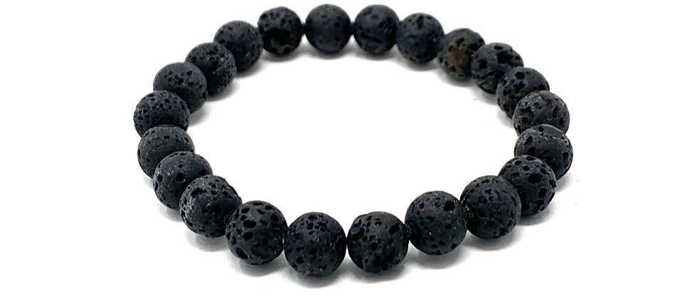8 mm Round Black Lava. Elastic Bracelet  (Price is Per 10 Pieces Bag)