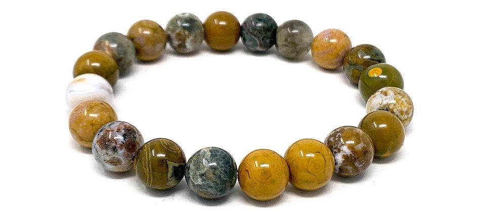 10 MM Ocean Jasper Round Beads Bracelets (Price Per 10 Pieces Bag)