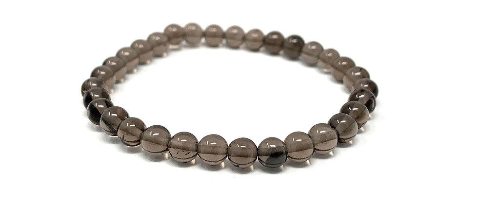 6 MM Smokey Quartz Round Beads Bracelets (Price Per 10 Pieces Bag)