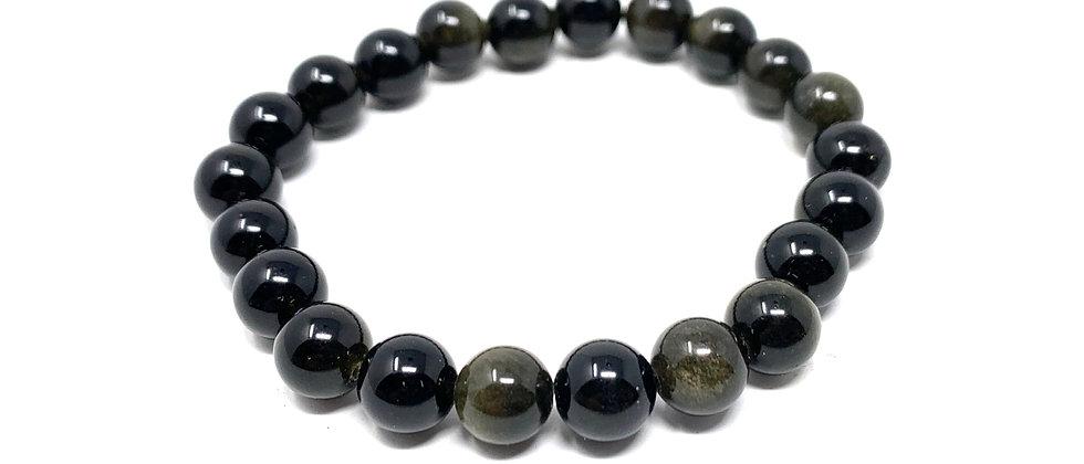 8 mm Round Golden Obsidian Elastic Bracelet  (Price is Per 10 Pieces Bag)