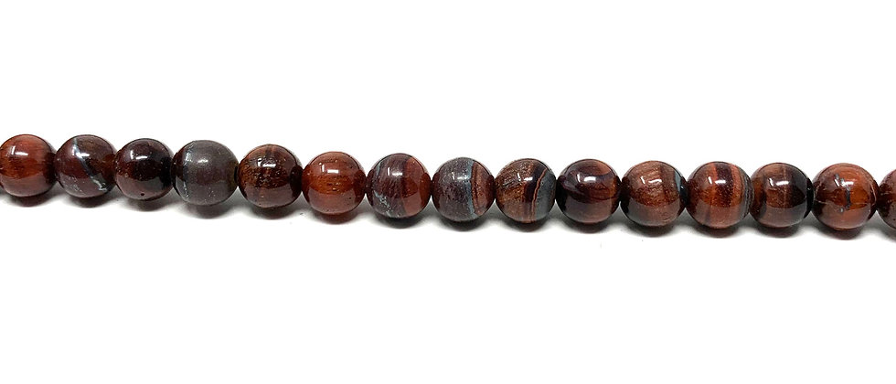"""6 mm Red Tiger Eye Round Beads 15.5""""-16"""" (Price per Unit of 5 Strands)"""