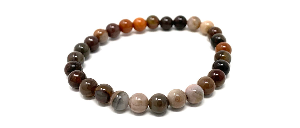 6 mm Round Petrefied Wood Agate Stretch Bracelet  (Price is Per 10 Pieces Bag)