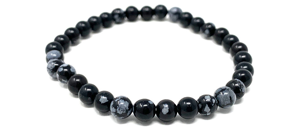 6 MM Snow Flake Obsidian Round Beads Bracelets (Price Per 10 Pieces Bag)