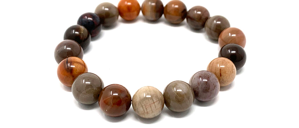 10 mm Round Petrefied Wood Stretch Bracelet  (Price is Per 10 Pieces Bag)