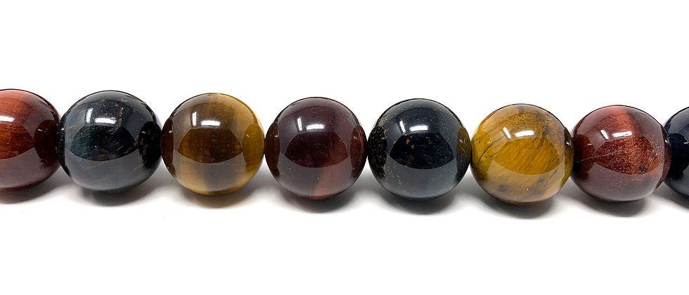 """12 mm Mix Tiger Eye Round Beads 15.5""""-16"""" (Price per Unit of 5 Strands)"""