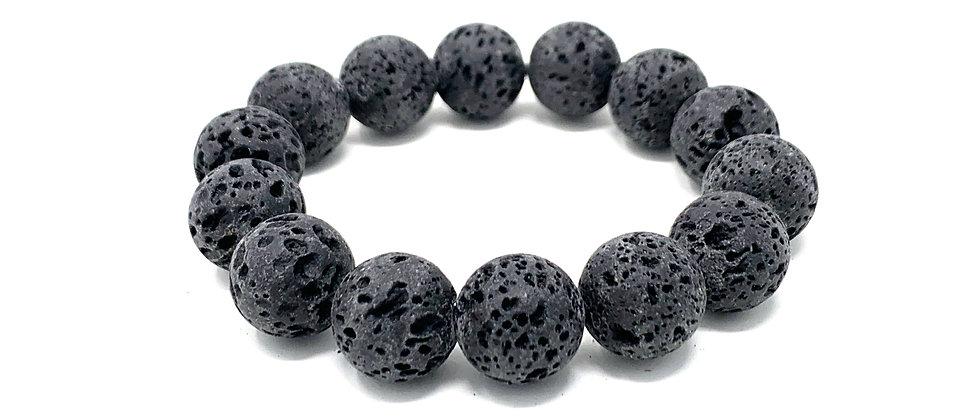 14 mm Round Black Lava. Elastic Bracelet  (Price is Per 10 Pieces Bag)