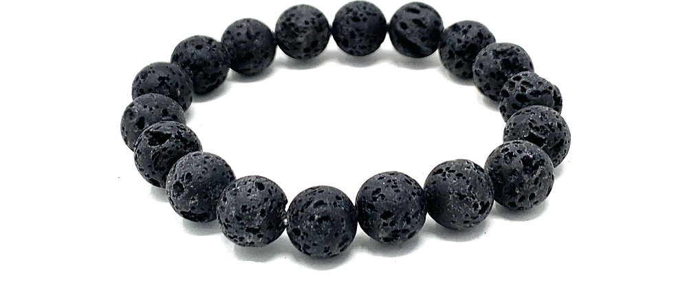10 mm Round Black Lava. Elastic Bracelet  (Price is Per 10 Pieces Bag)