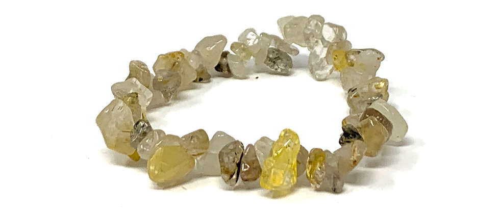 Golden Rutile Single Chips Elastic Bracelet  (Price is Per 10 Pieces Bag)