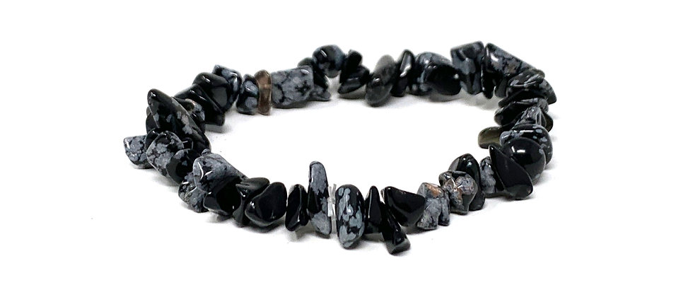 Snow Flake Obsidian Single Chips Elastic Bracelet  (Price is Per 10 Pieces Bag)