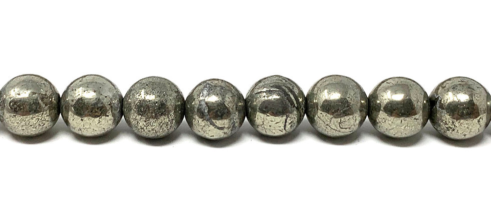 "8  mm Pyrite Smooth Round Beads 15.5""-16"" (Price per Unit of 5 Strands)"