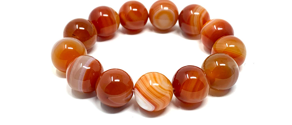16 mm Round Red/White Sardonyx Agate Bracelet  (Price is Per 10 Pieces Bag)
