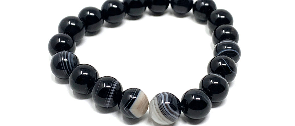 10 mm Round Black/White Sardonyx  Elastic Bracelet  (Price is Per 10 Pieces Bag)