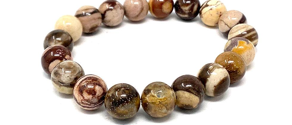 10 MM Brown Zebra Jasper Round Beads Bracelets (Price Per 10 Pieces Bag)