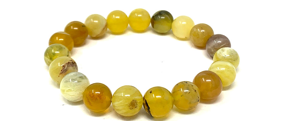 10 MM Yellow Opal Round Beads Bracelets (Price Per 10 Pieces Bag)