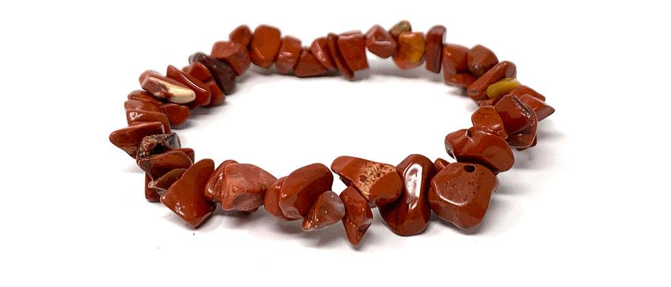 Red Jasper Single Chips Elastic Bracelet  (Price is Per 10 Pieces Bag)