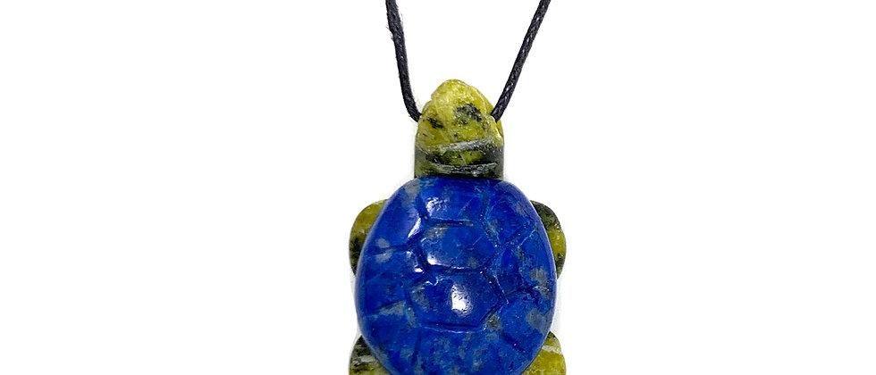 Adj. Cord Natural Lapis Turtle Pendant (Price is per 10 Pieces Bag)