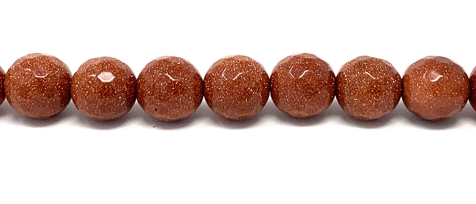 12 mm Faceted Round Brown Goldstone Beads (Price is per Unit of 5 Strand)