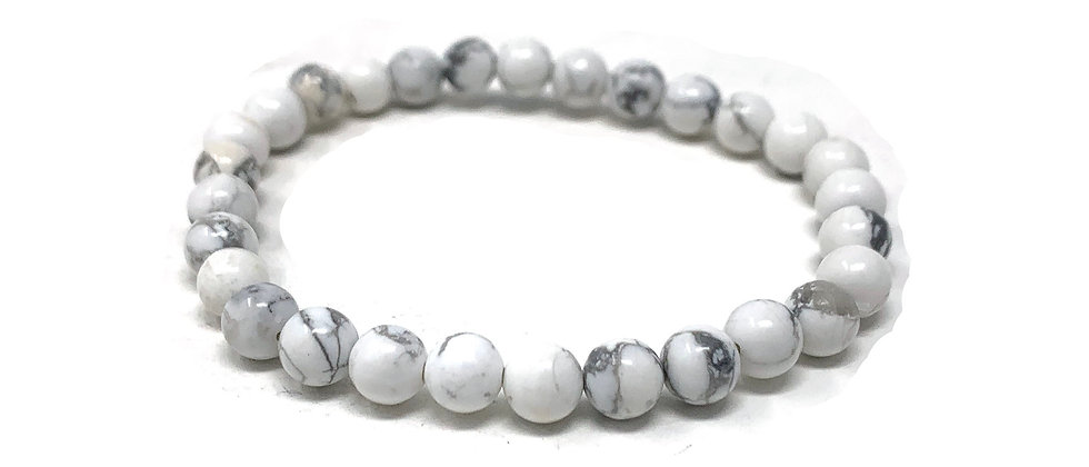 6 MM White Howlite Round Beads Bracelets (Price Per 10 Pieces Bag)