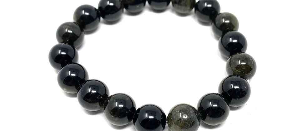 10 mm Round Golden Obsidian Stretch Bracelet  (Price is Per 10 Pieces Bag)