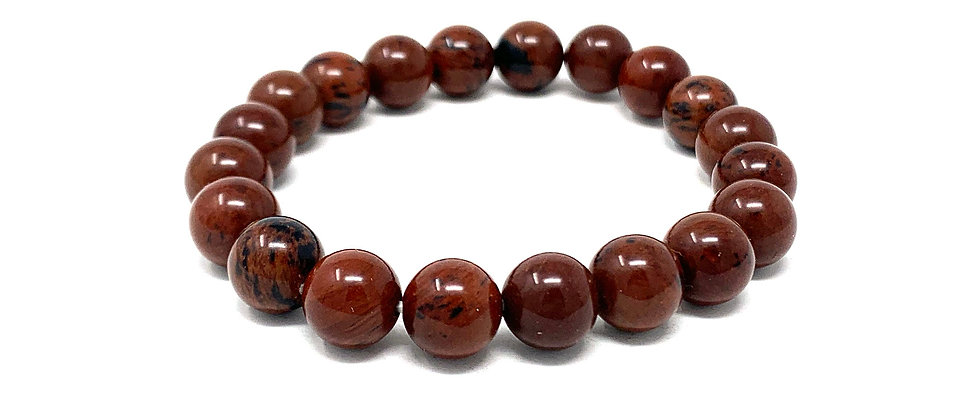 10 MM Mahogany Obsidian Round Beads Bracelets (Price Per 10 Pieces Bag)