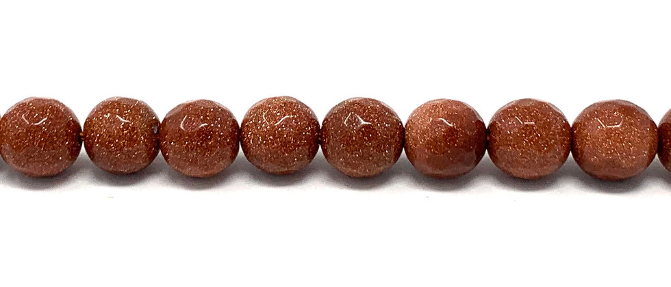 10 mm Faceted Round Brown Goldstone Beads (Price is per Unit of 5 Strand)