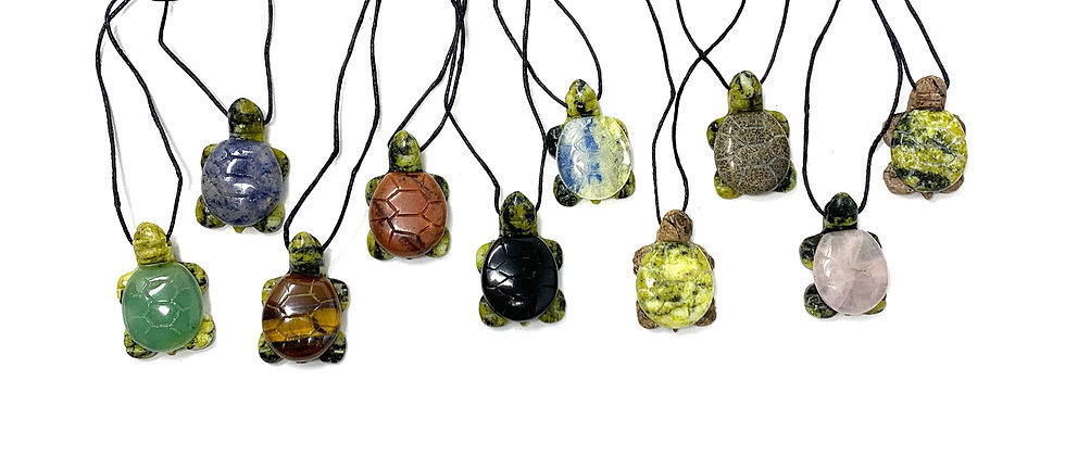 Adj. Cord Assorted Stones Turtle Pendant (Price is per 18 Pieces Tray)
