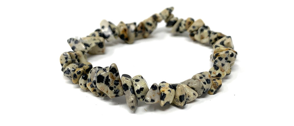 Dalmation Jasper Single Chips Elastic Bracelet  (Price is Per 10 Pieces Bag)