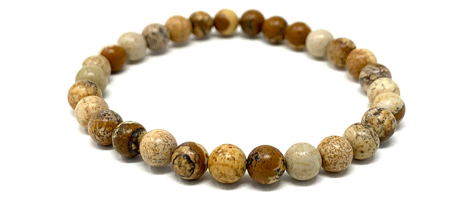 6 MM Picture Jasper Round Beads Bracelets (Price Per 10 Pieces Bag)