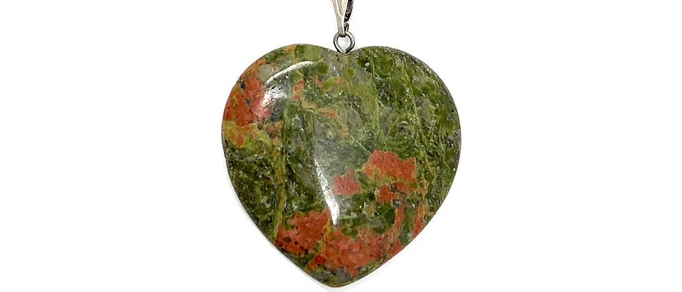 25 mm Unakite Adjustable Cord Heart Pendant (Price per 18 Pieces Tray)