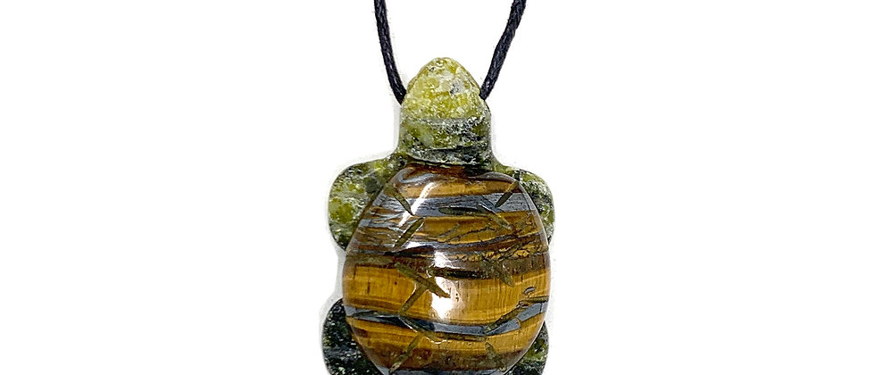 Adj. Cord Tiger Eye Turtle Pendant (Price is per 18 Pieces Tray)