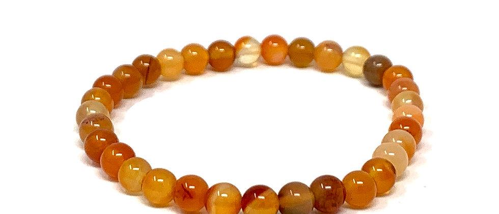 6 MM Carnelian Round Beads Bracelets (Price Per 10 Pieces Bag)