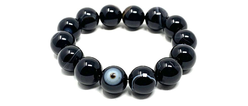 14 mm Round Black/White Sardonyx Agate Bracelet  (Price is Per 10 Pieces Bag)