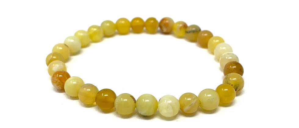 6 MM Yellow Opal Round Beads Bracelets (Price Per 10 Pieces Bag)