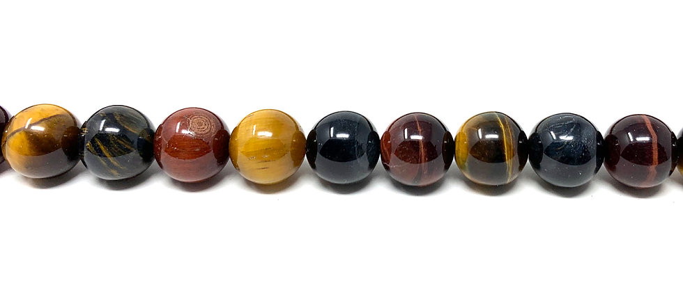 """8 mm Mix Tiger Eye Round Beads 15.5""""-16"""" (Price per Unit of 5 Strands)"""