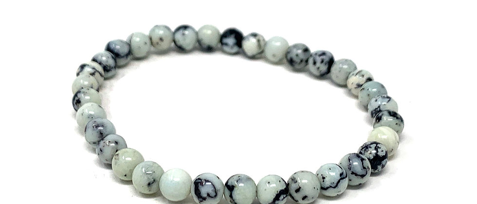6 MM White Turquoise Round Beads Bracelets (Price Per 10 Pieces Bag)