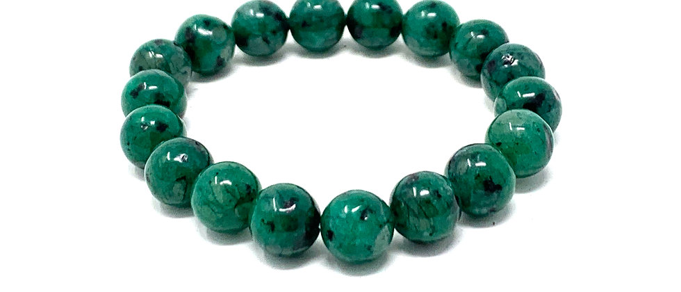 10 mm Round Green Kiwi QTZ. Elastic Bracelet  (Price is Per 10 Pieces Bag)