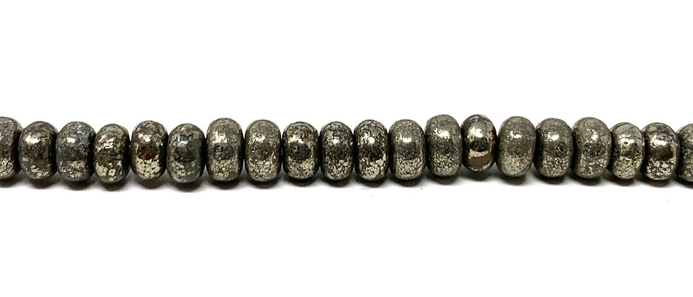 """4 mm Pyrite Smooth Roundelle Beads 15.5""""-16"""" (Price per Unit of 5 Strands)"""